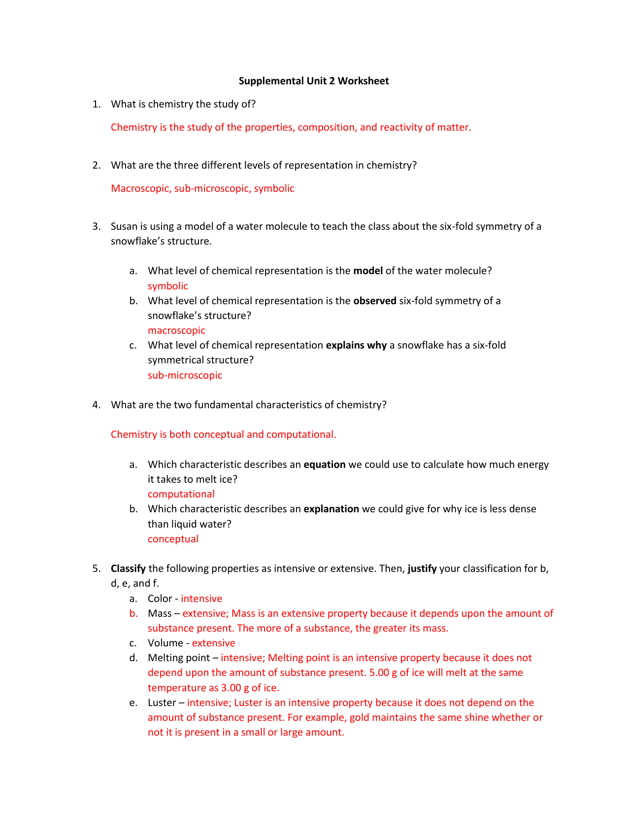 Unit 2 Worksheet 1 Chemistry Answers