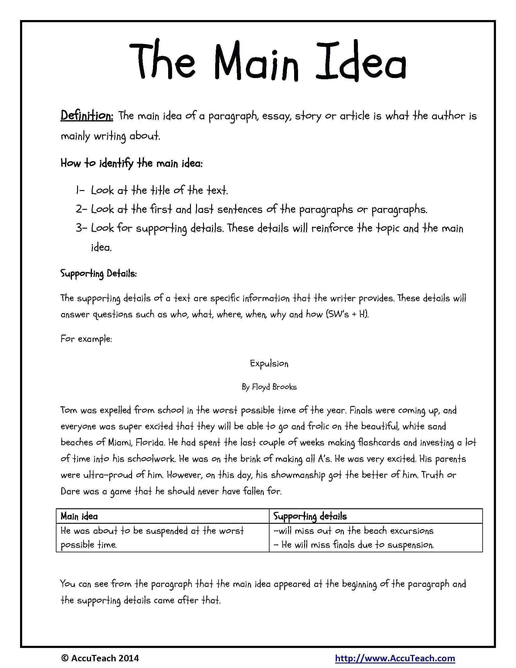 Main Idea Multiple Choice Worksheets