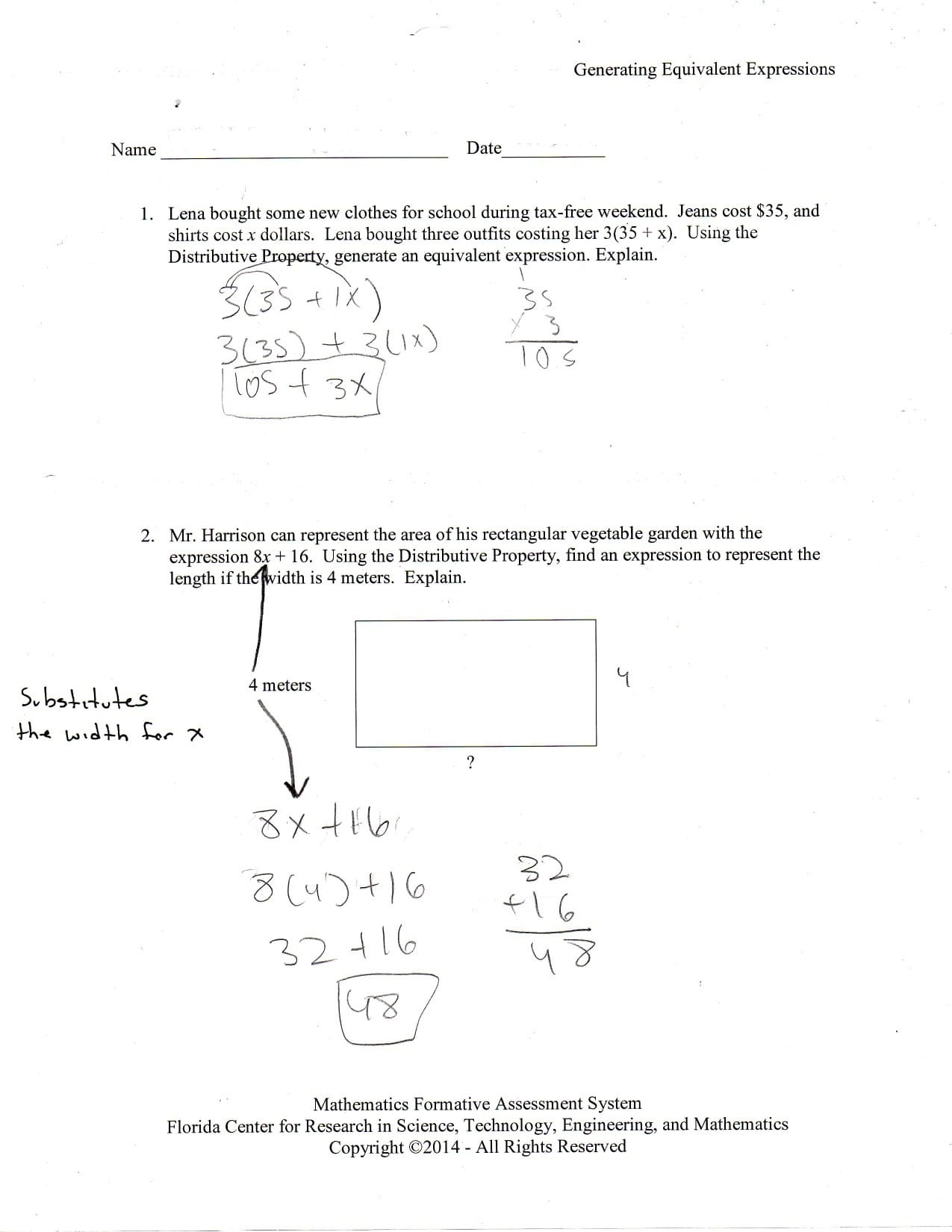 Writing Algebraic Expressions Worksheet