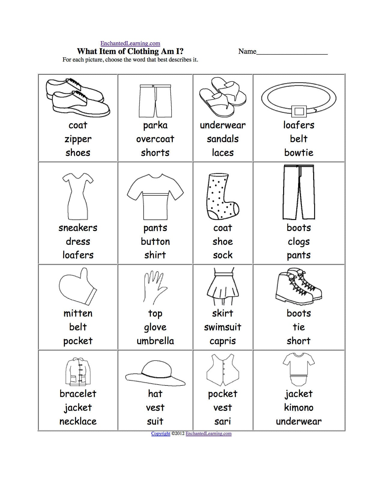 Sorting Clothes Worksheet
