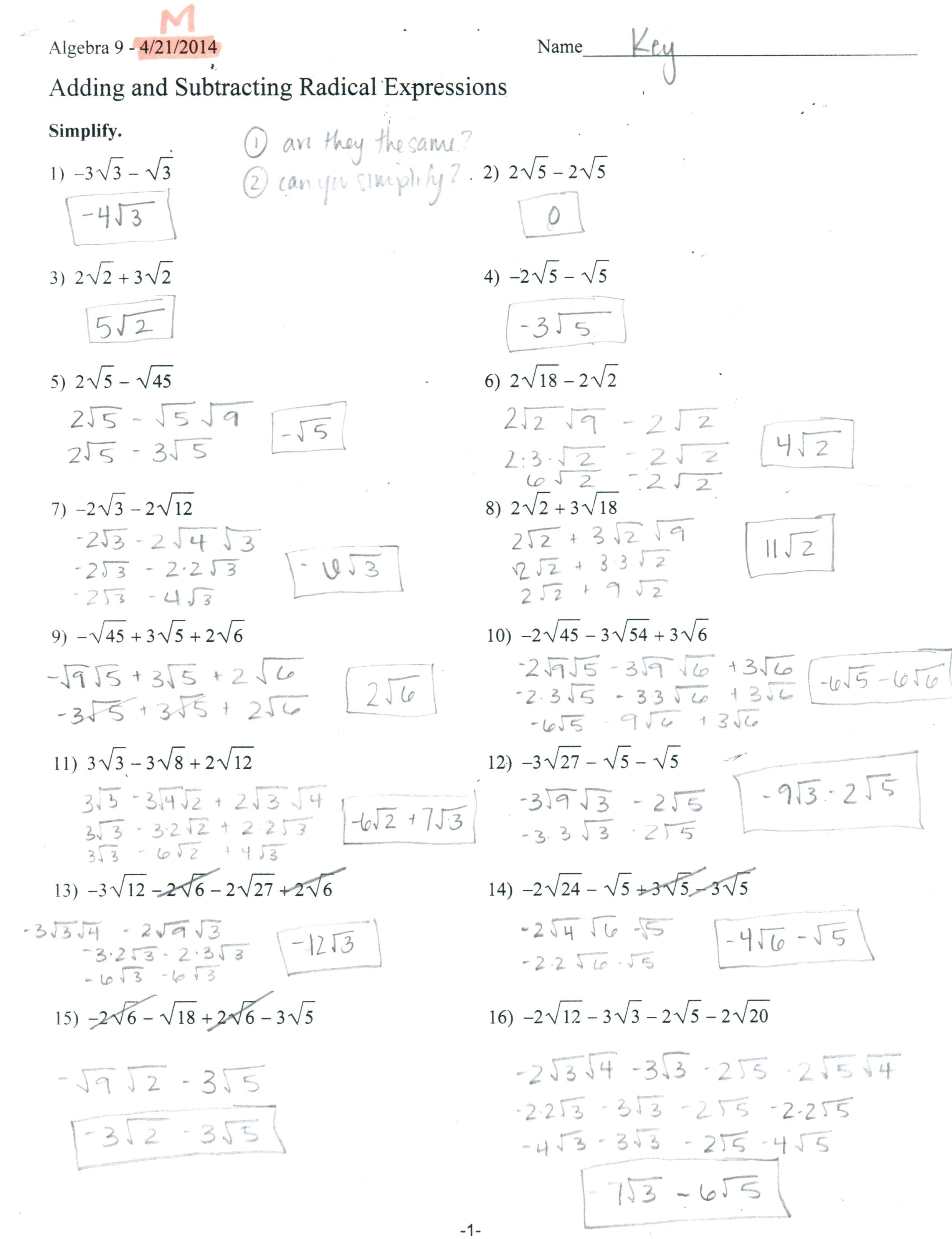 Multiplying Radical Expressions Worksheet Answers