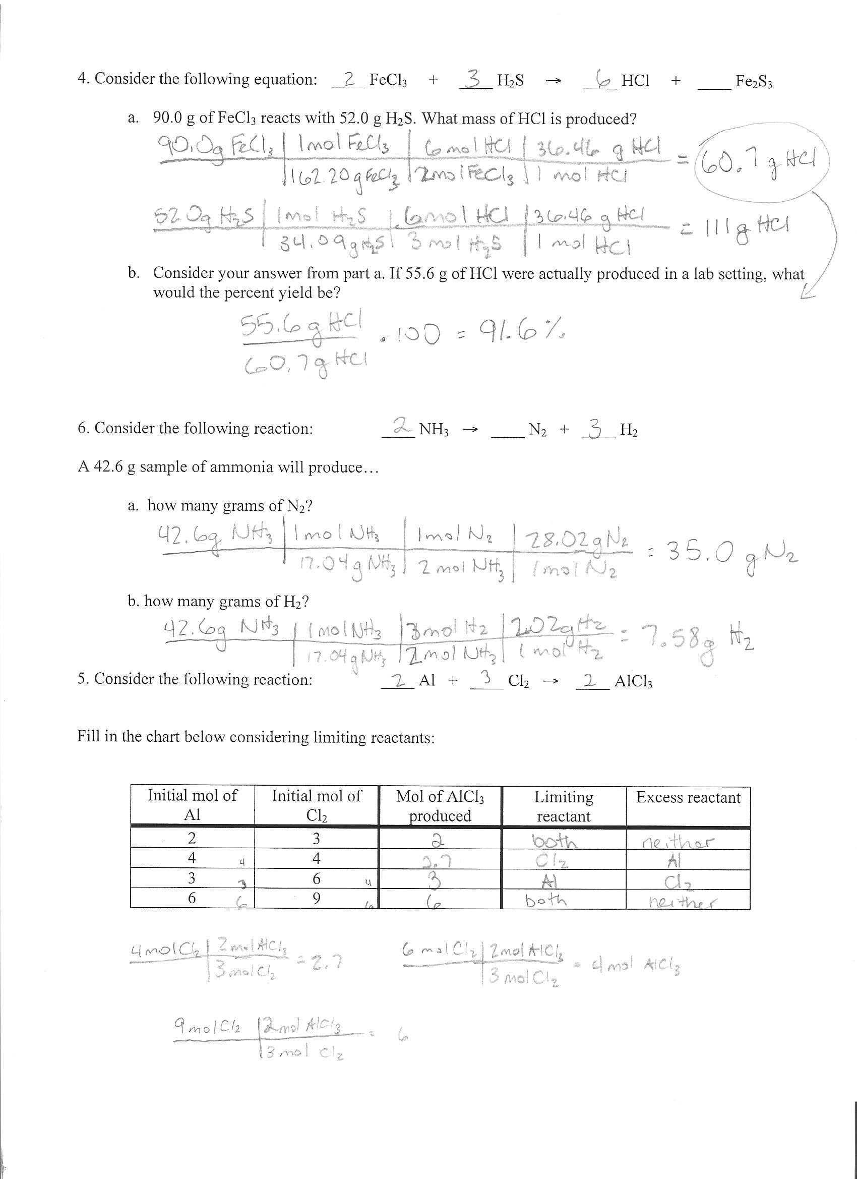 Djhs Chem Unit 8 In Mole Ratio Worksheet