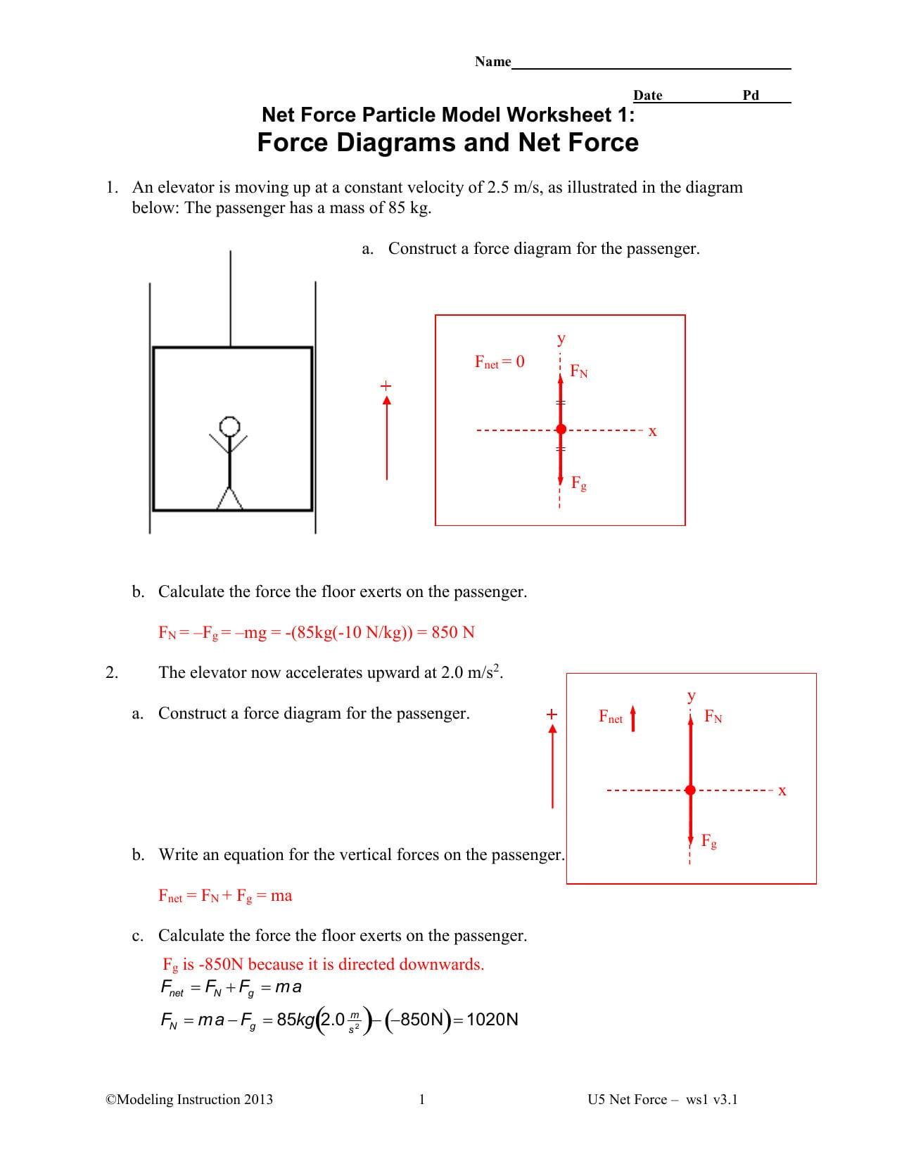 Net Force Worksheet