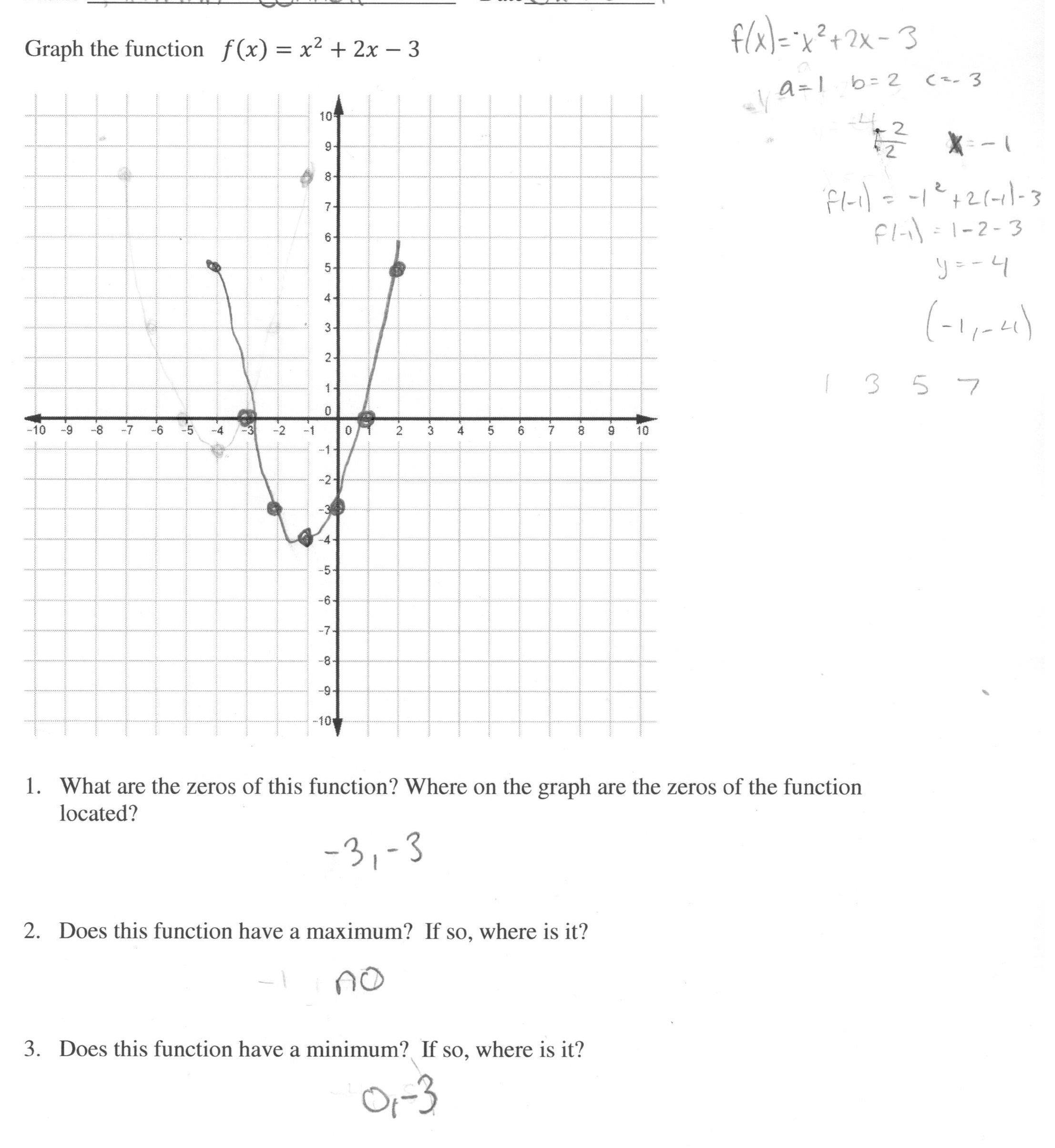 Quadratic Functions Worksheet Answers