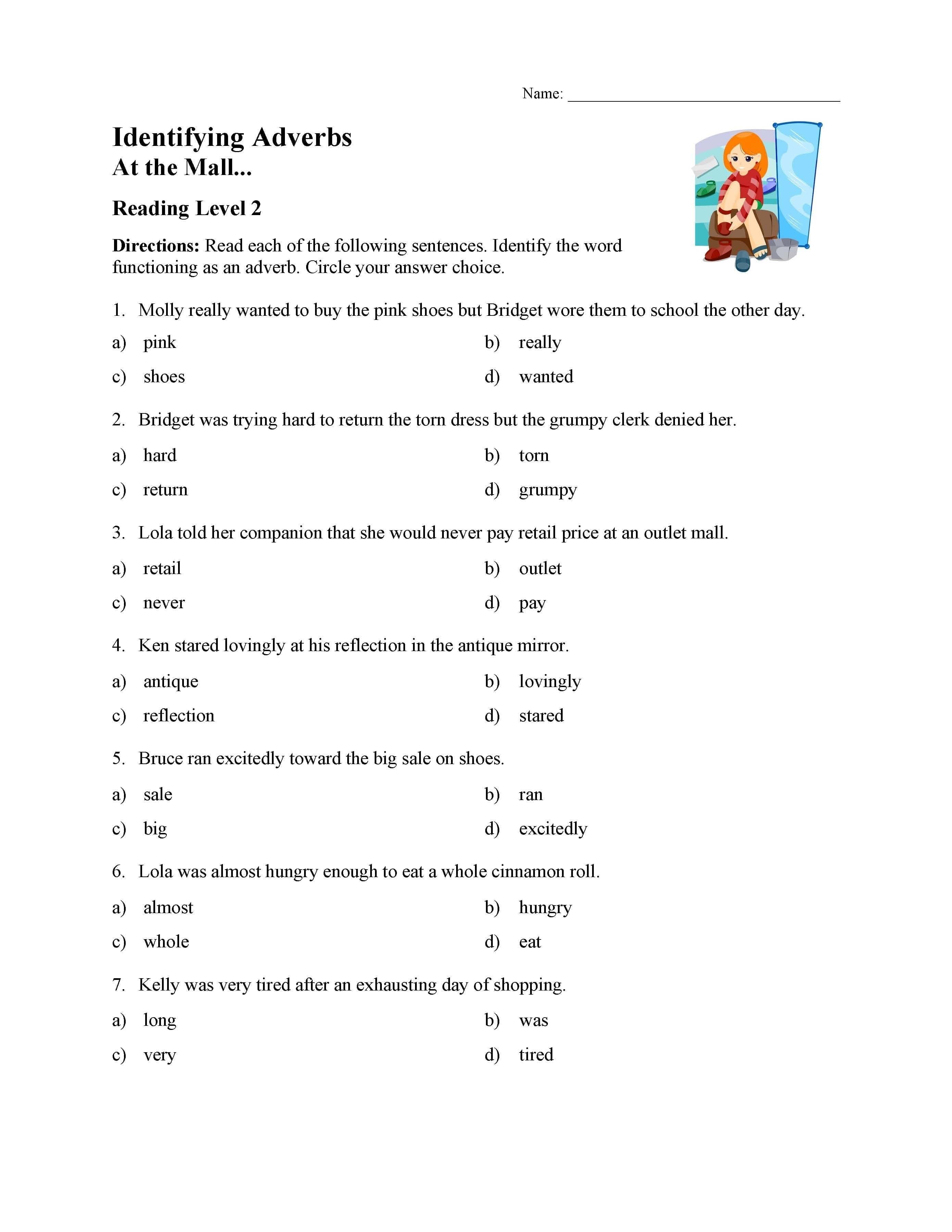 Identifying Adverbs Worksheet
