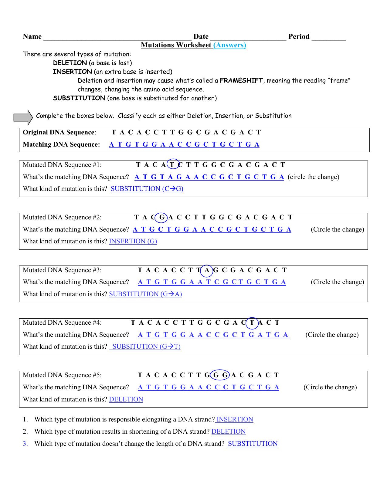 Mutations Worksheet Answers Excelguider