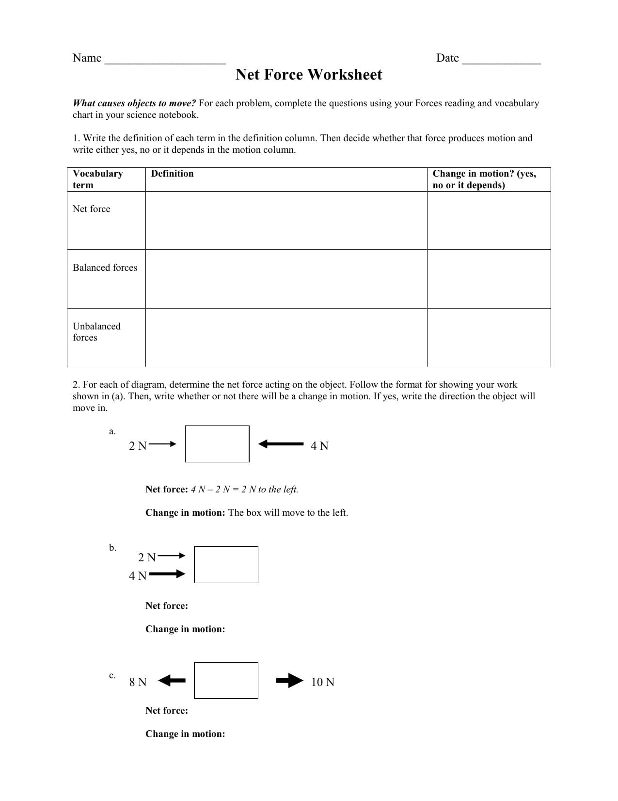 Net Force Worksheet Answer Key