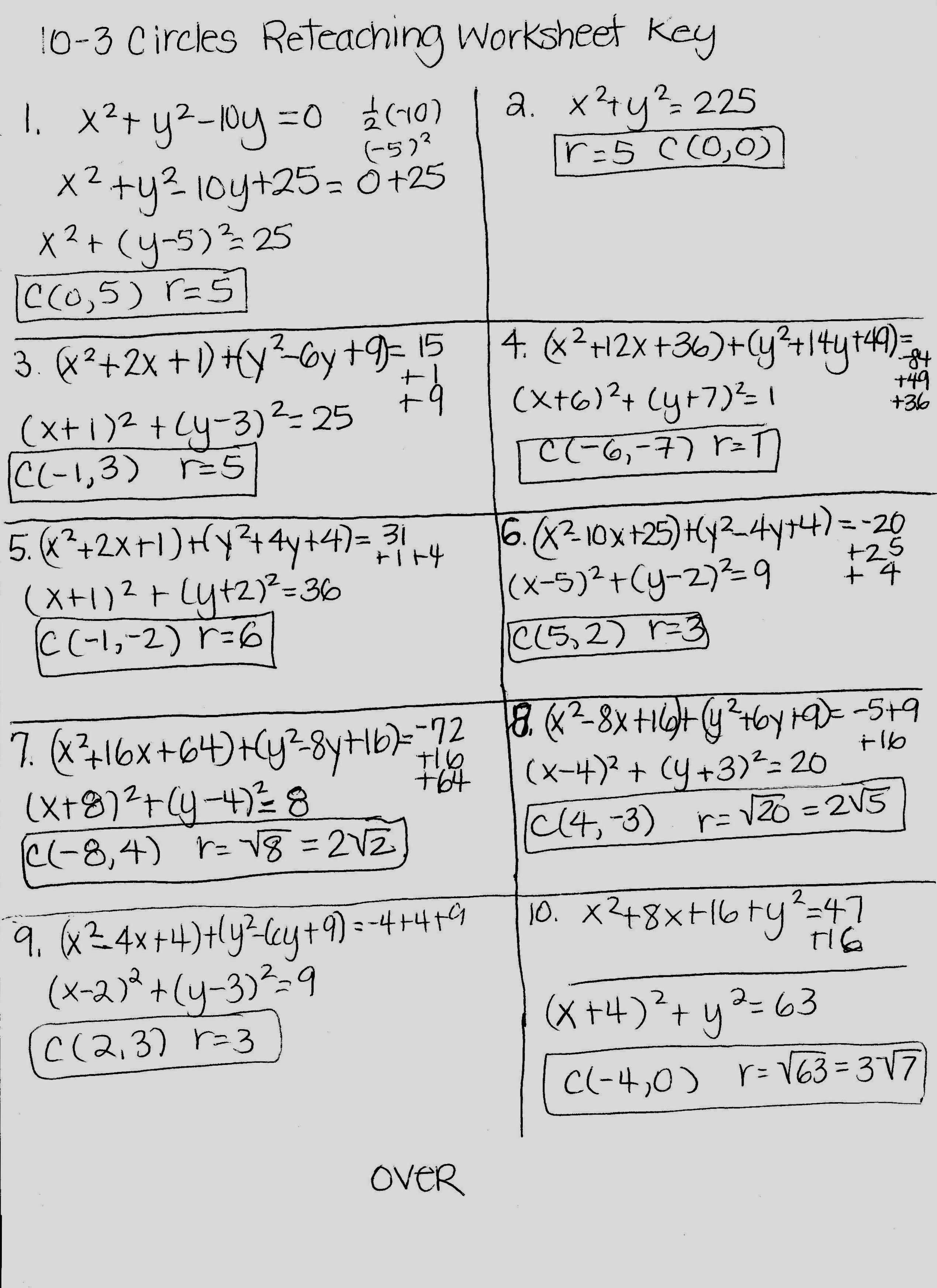 Precalculus Worksheets With Answers