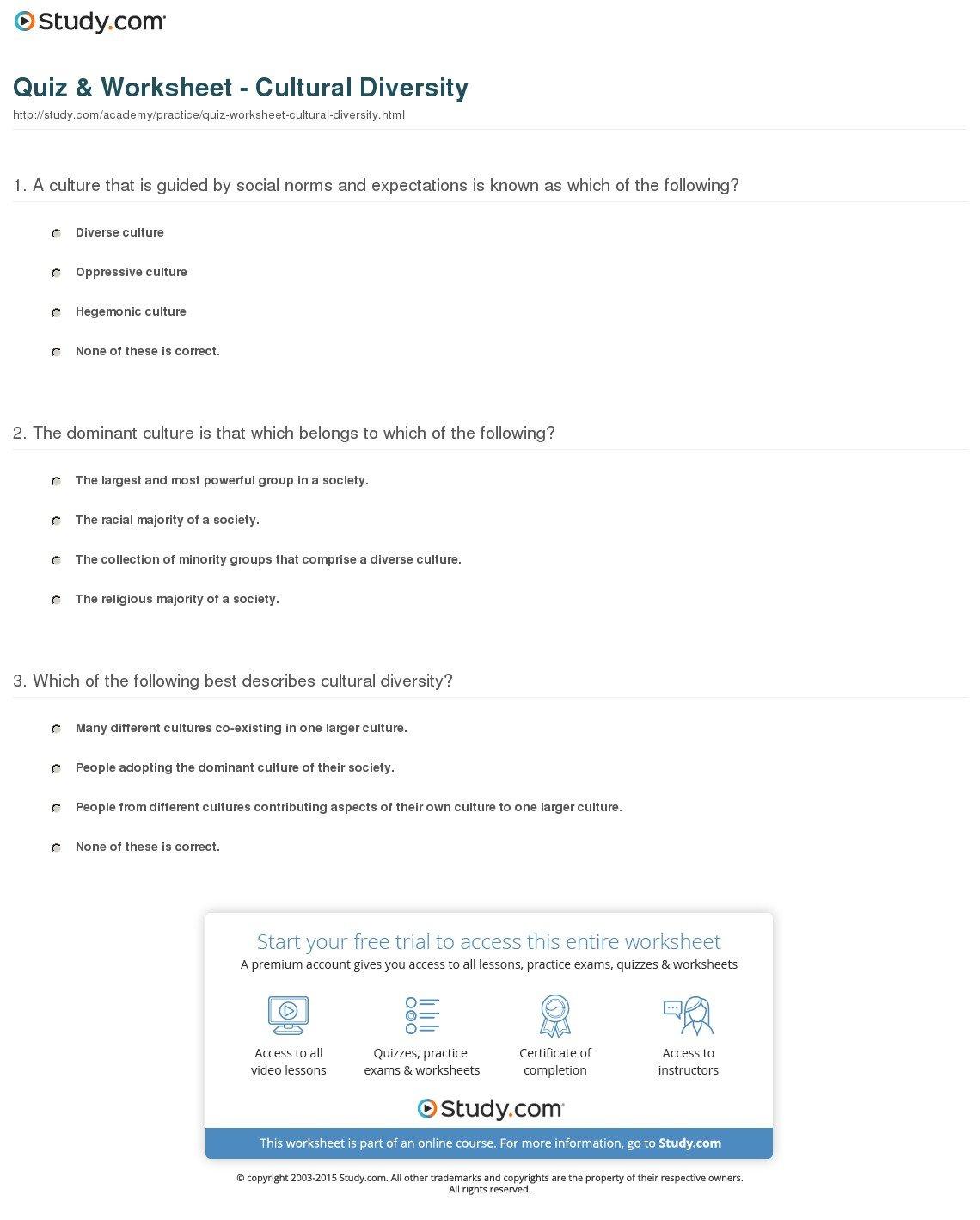 Diversity Worksheets For Middle School