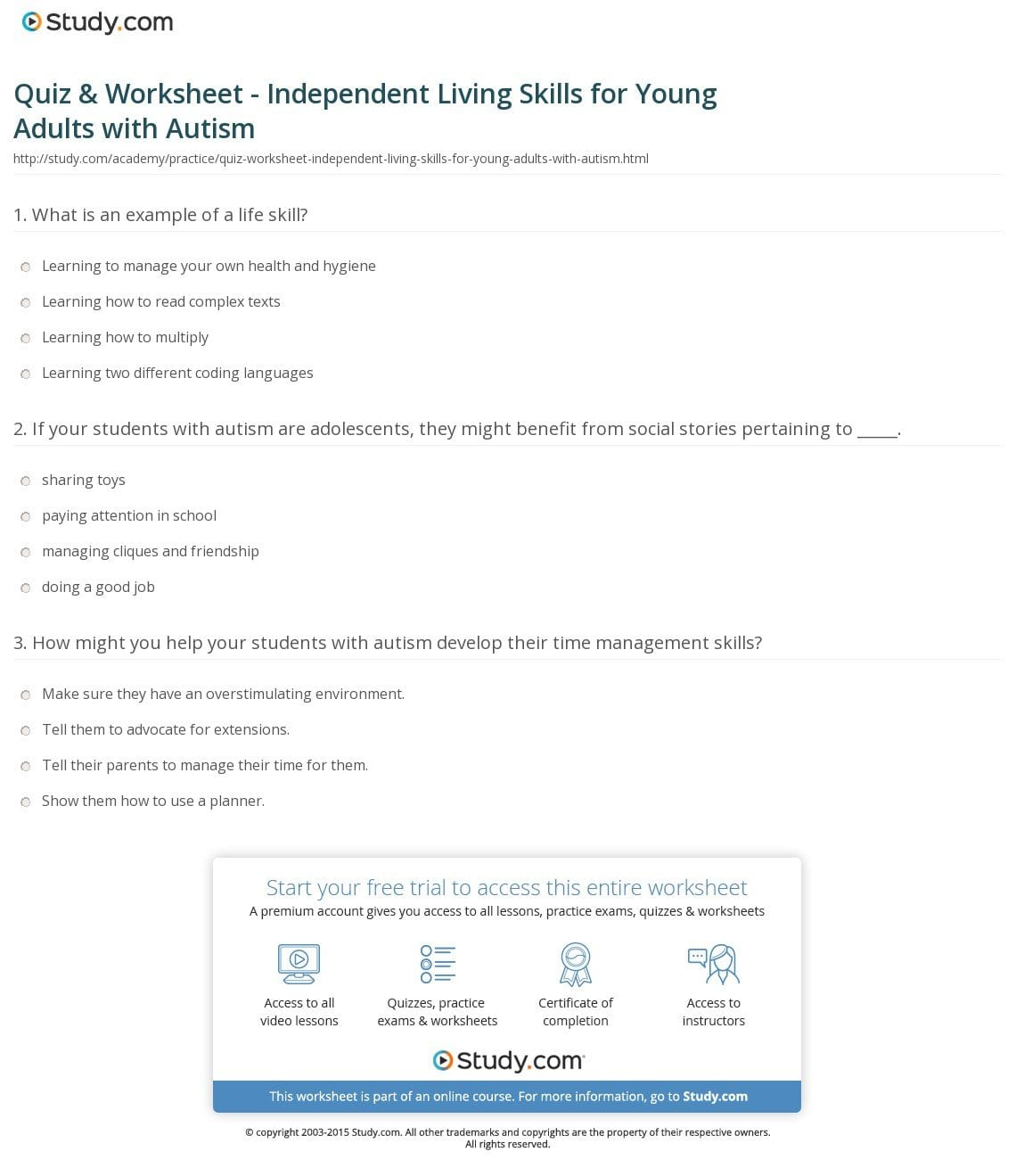 Independent Living Worksheets For Adults