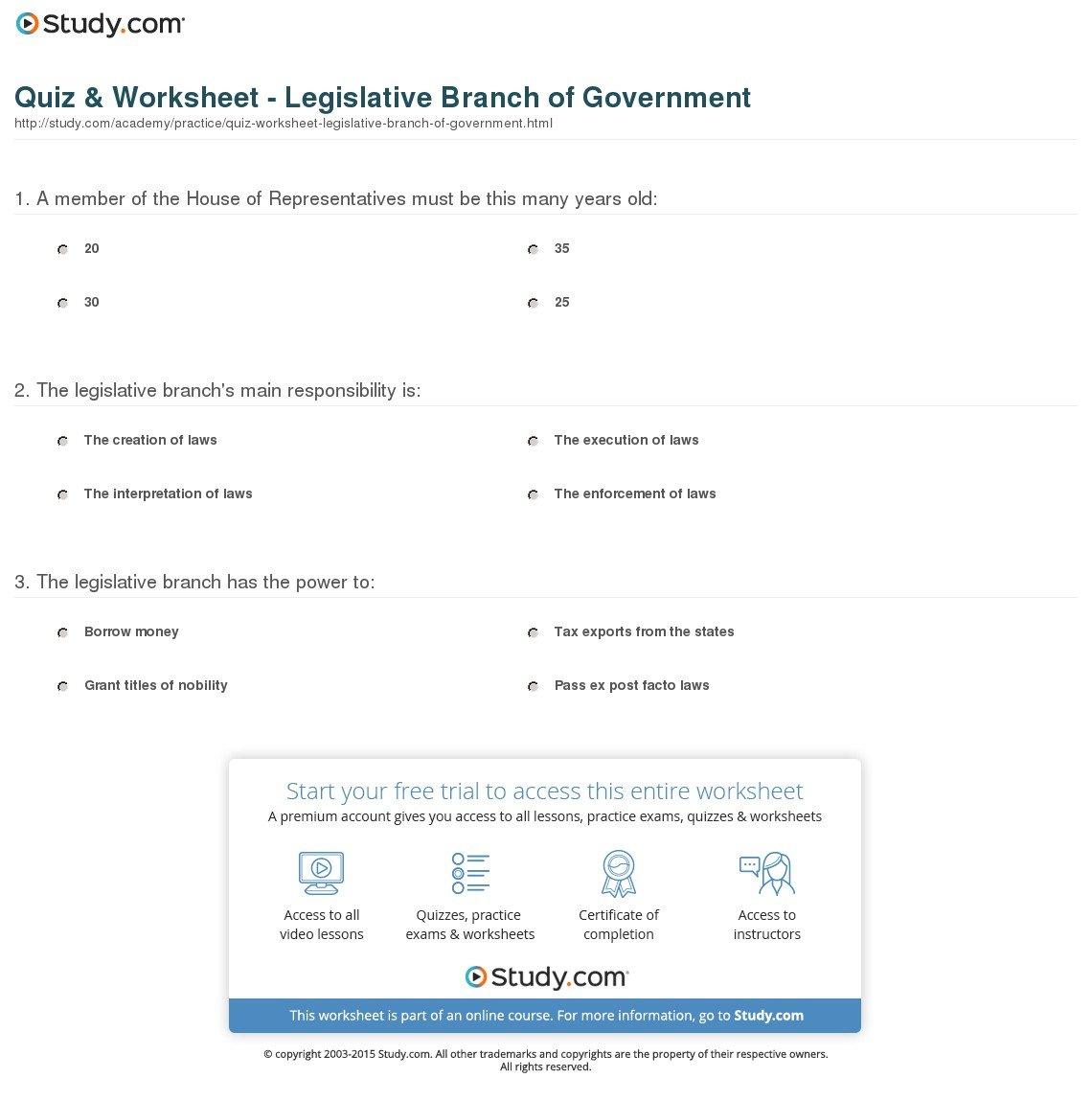 Legislative Branch Worksheet Middle School