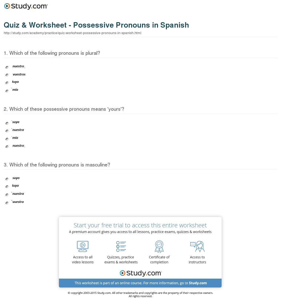 Worksheet 2 Possessive Adjectives Spanish Answers