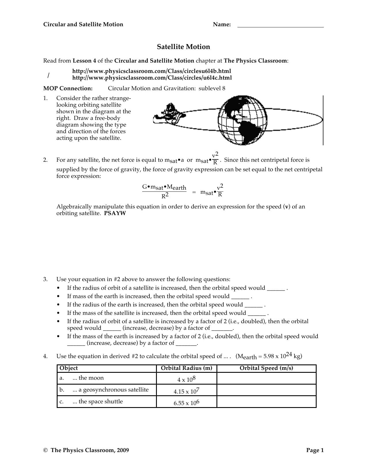 Circular And Satellite Motion Worksheet Answers