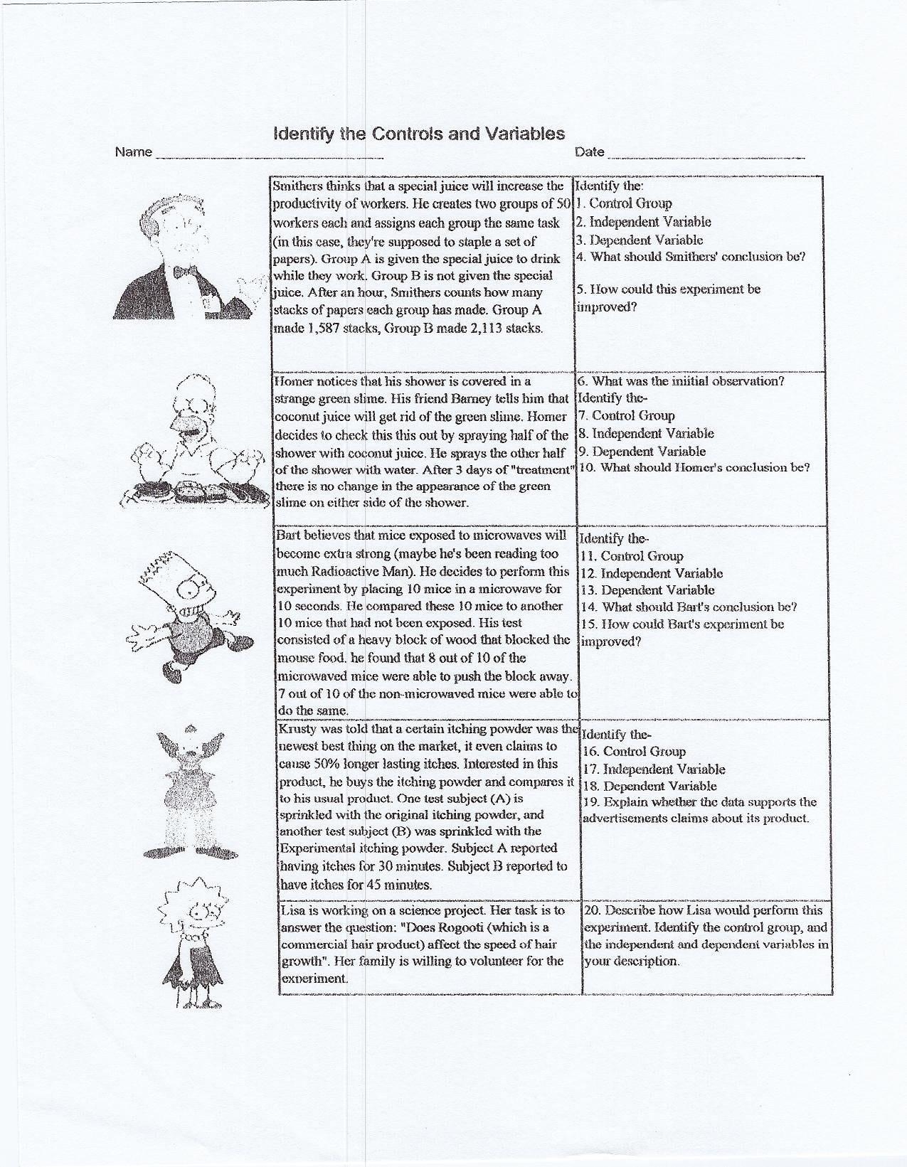 Scientific Method Worksheet High School
