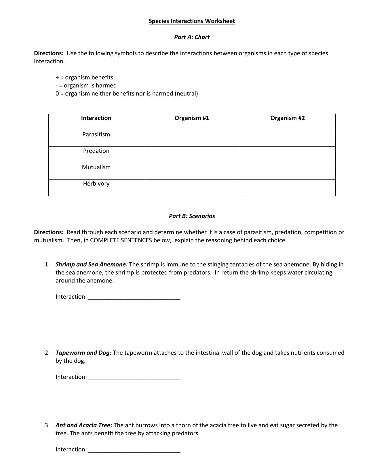 Species Interaction Worksheet Answers