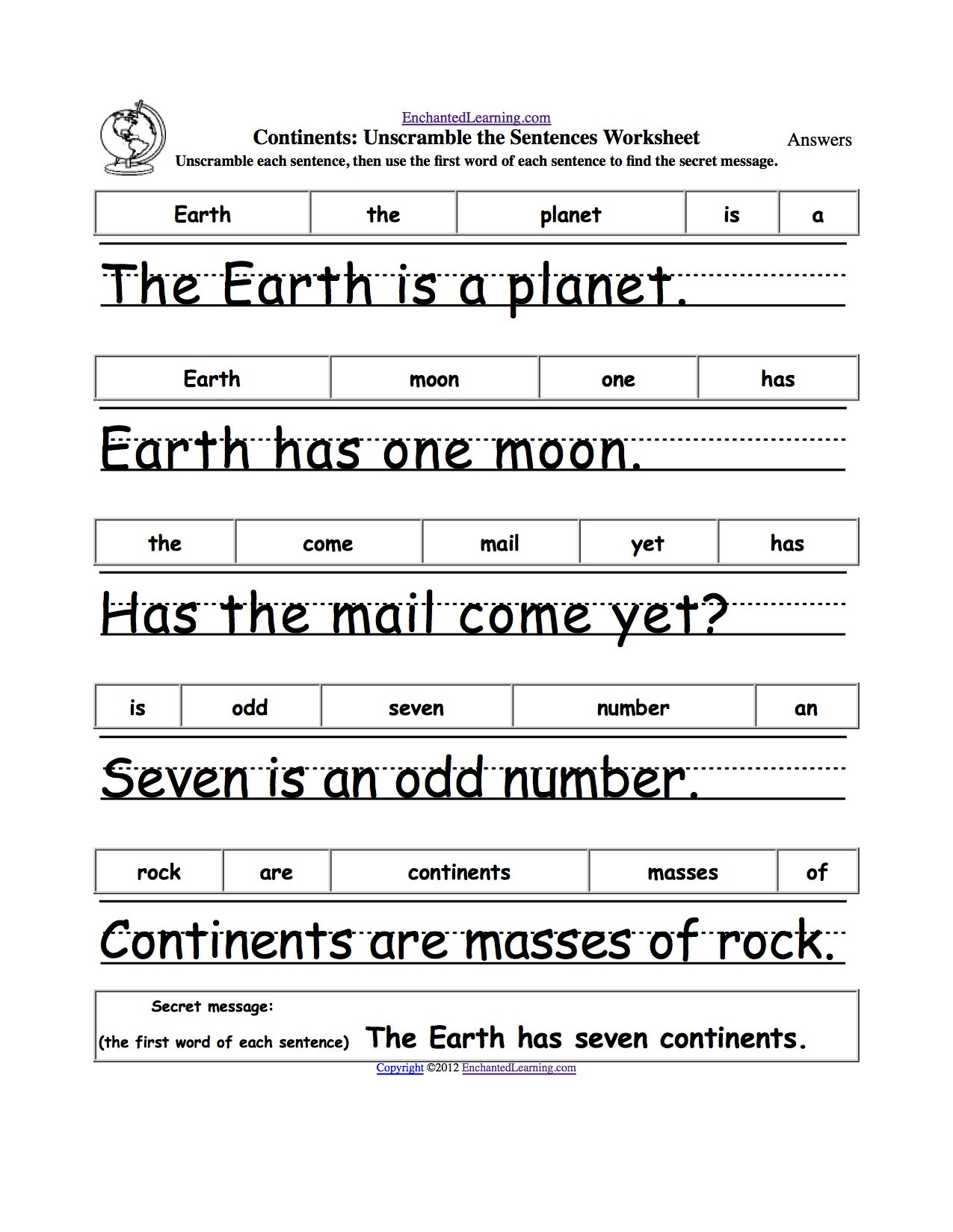 Unscramble Sentences Worksheets 1st Grade