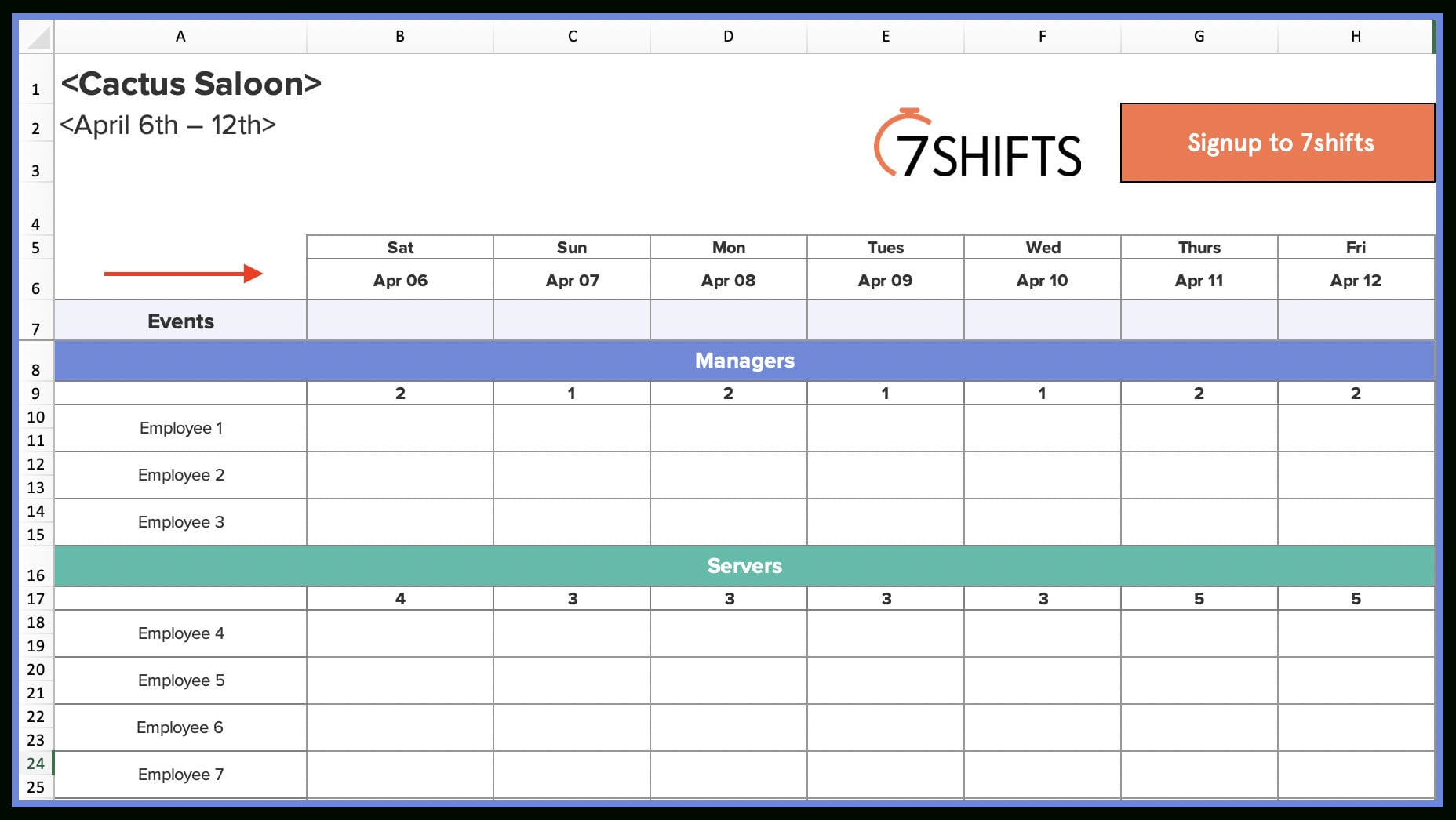 Employee Schedule Worksheet