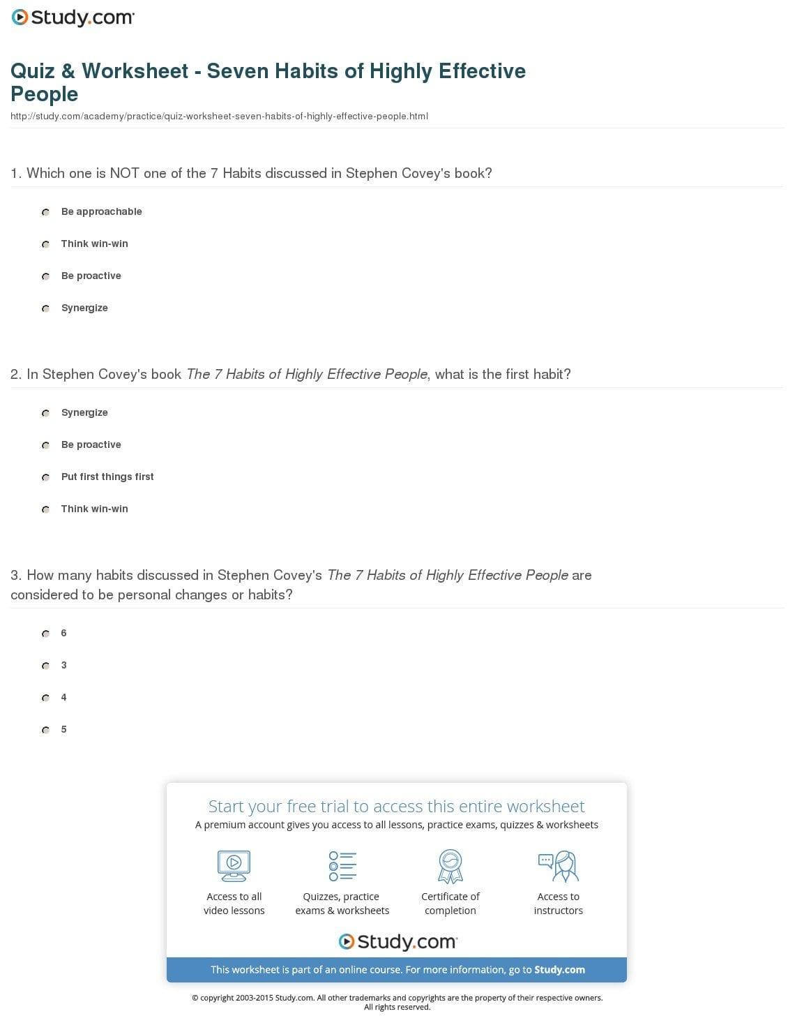 7 Habits Worksheet