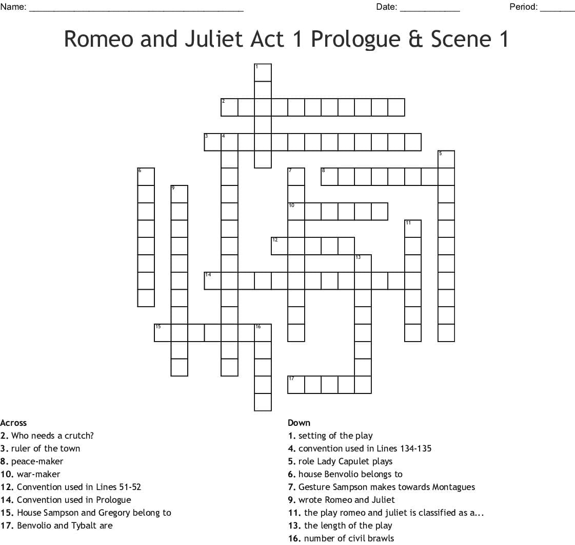 Romeo And Juliet The Prologue Worksheet