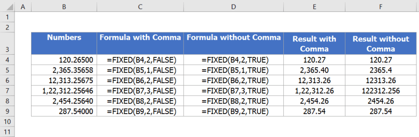 excel fixed function