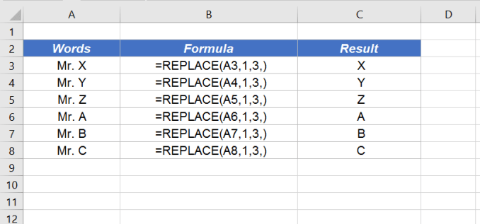 excel replace function