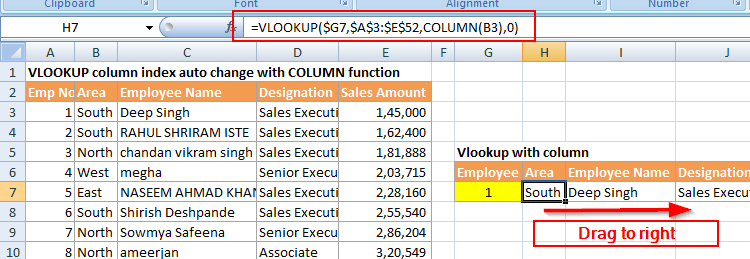 VLOOKUP column index auto update with COLUMN function