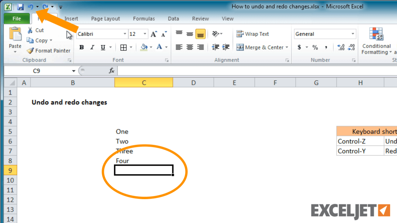 Excel Tut I L How To Undo Nd Redo Ch Nges Excel