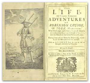 Robinson Crusoe by Daniel Defoe early edition title page