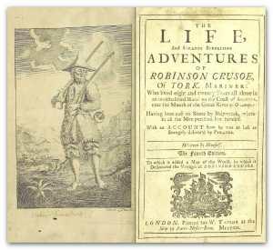Robinson Crusoe by Daniel Defoe early edition title page