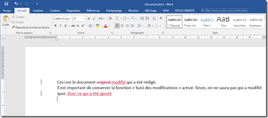 Document modifie