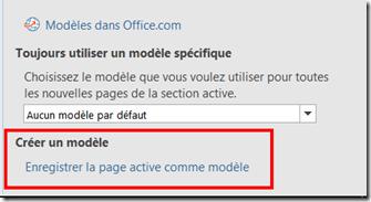 Enregistrer la page active comme modele - OneNote