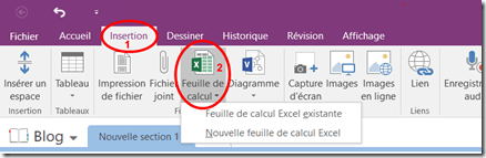 Insertion Fichier Excel - OneNote