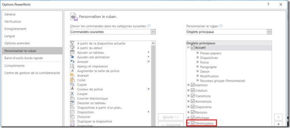 PowerPoint - Activer le menu developpeur