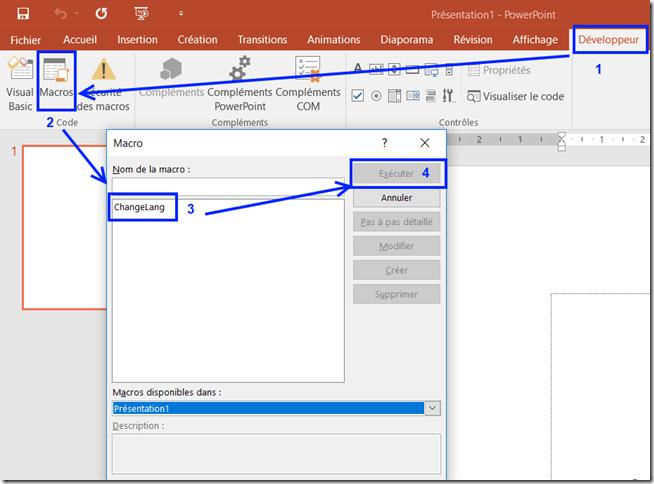 PowerPoint - Executer macro ChangeLang