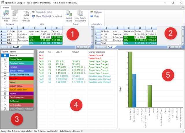 Comparer deux fichiers Excel - Présentation interface