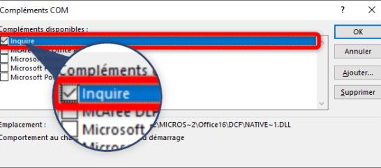 Excel - Complément COM - Inquire
