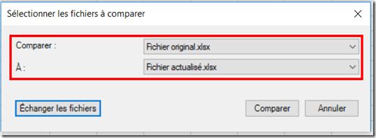 Comparer deux fichiers Excel - Sélection des fichiers