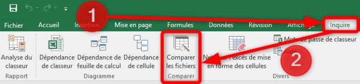 Excel - Ruban Inquire - Comparer les fichiers