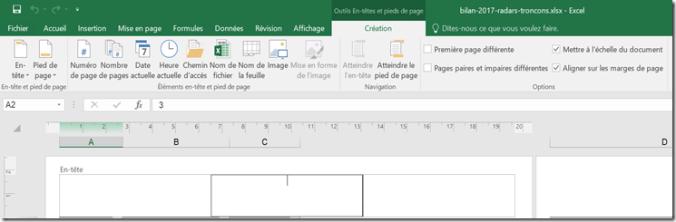 Excel - Zone d'impression - Mode mise en page - En-tête et pied de page