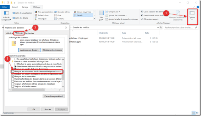 Extraire images PowerPoint - Explorateur - Modifier les options affichage extensions