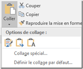 Word - Options de collage spécial