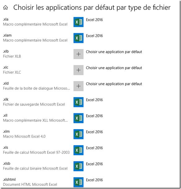 Liste des extensions de fichiers Excel - XLS