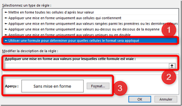 Excel - Menu mise en forme conditionnelle - Type regles