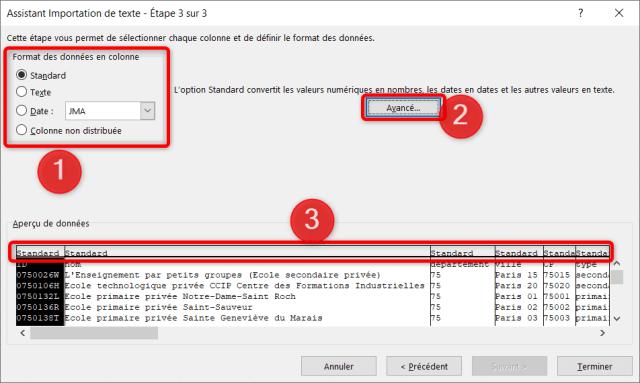 Assistant importation données CSV - Étape 3