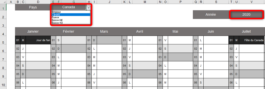 Tableau Excel Calendrier 2021 LE calendrier Excel 2020 éditable, imprimable et dynamique pour le