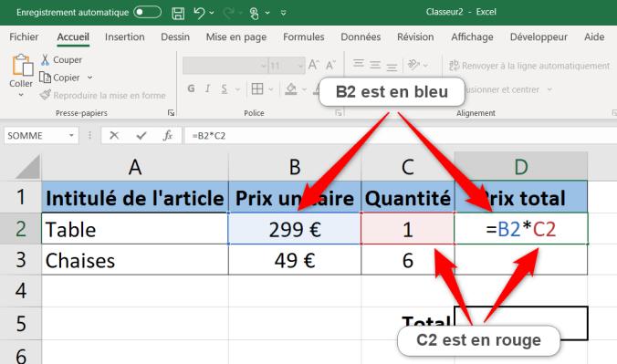 Apprendre Excel - Illustration d'une formule Excel avec la coloration des références d'une formule