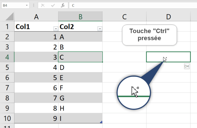 Curseur Excel - Double flèches - Ctrl