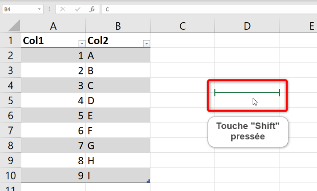 Curseur Excel - Double flèches - Shift