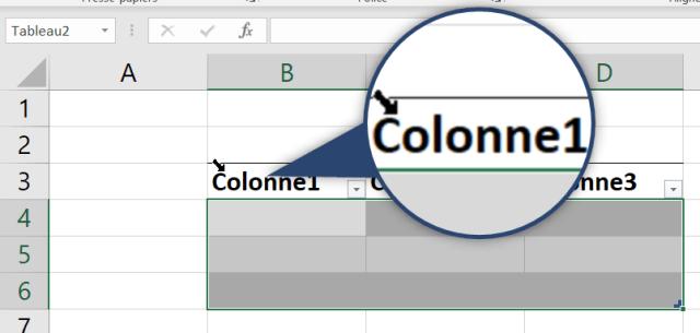 Curseur Excel - Flèche noire diagonale sur première colonne