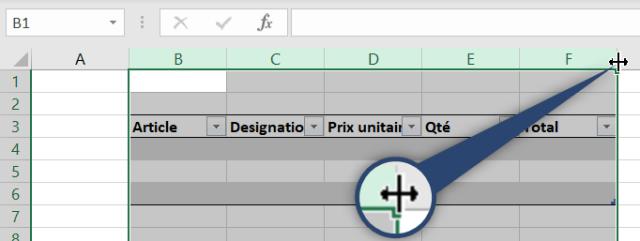 Curseur Excel - Sélection des colonnes à ajuster